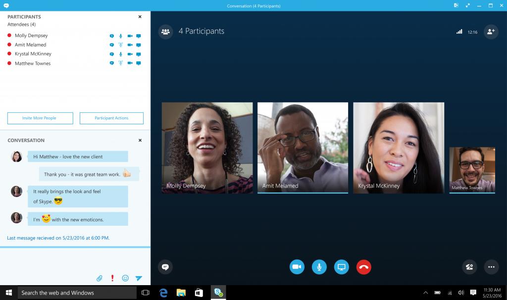 Skype interface